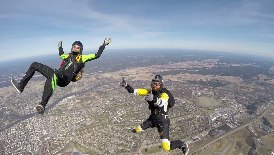 Skydive thumbs up